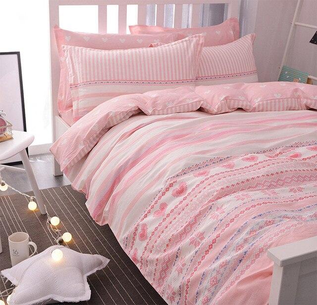 Cute geometric single double bedding sets teen kid girl,cotton ... : single bed quilt sets - Adamdwight.com