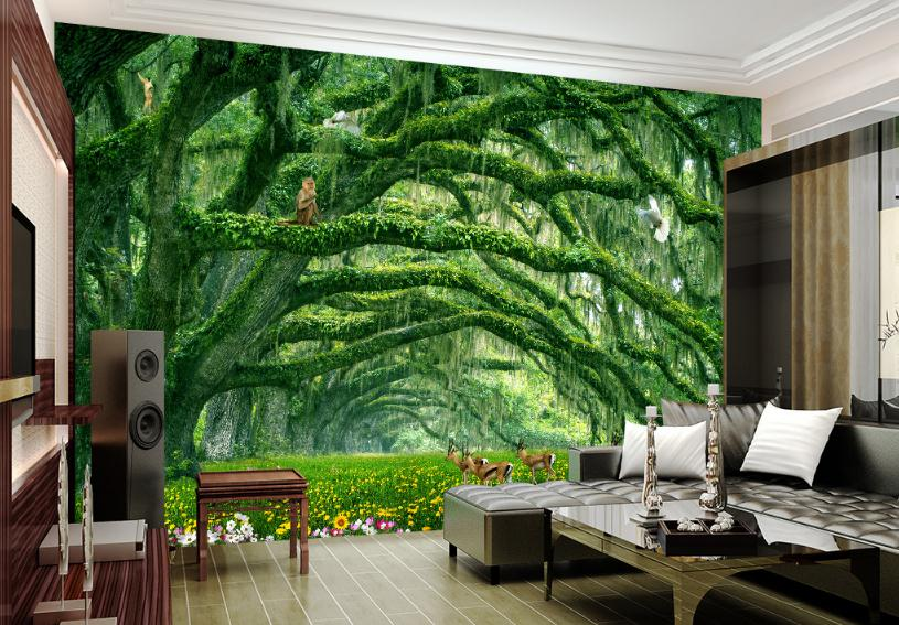 US 4040 40% OFFModern 40 D Effect Photo Wallpaper Nature Wall Mural Bedroom Wall Designs Forest Mural Wallpaper 40d Home Wallpaper Hd Wall Muralsin Enchanting Wallpaper For Bedroom Walls Designs