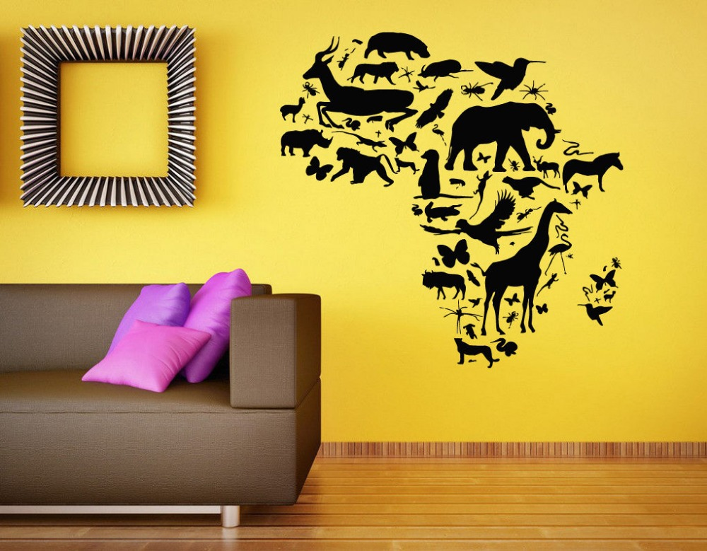 African Animal Map Wall Decal Africa Map Continent Animal Wall Art ...