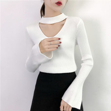 Sexy Flare Sleeve Sweater Women Fashion V-neck Bell Sleeve Knit Pullover Jumper  Female Brand Solid Color Knitted Sweater D216 bell sleeve jumper