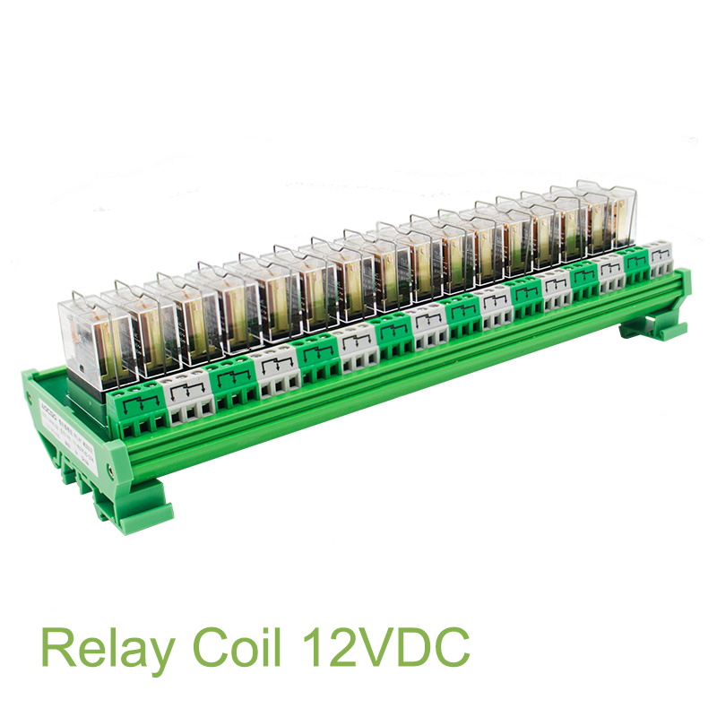16 Channel 1 SPDT DIN Rail Mount OMRON G2R 12V DC AC Interface Relay Module