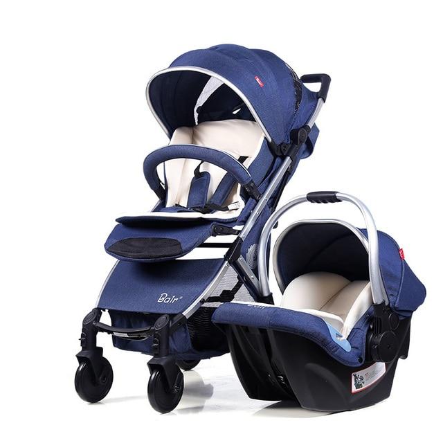 Fashion Baby Stroller Pram 2 in 1 High Landscape Pushchair + Car Seat Ultra light Portable