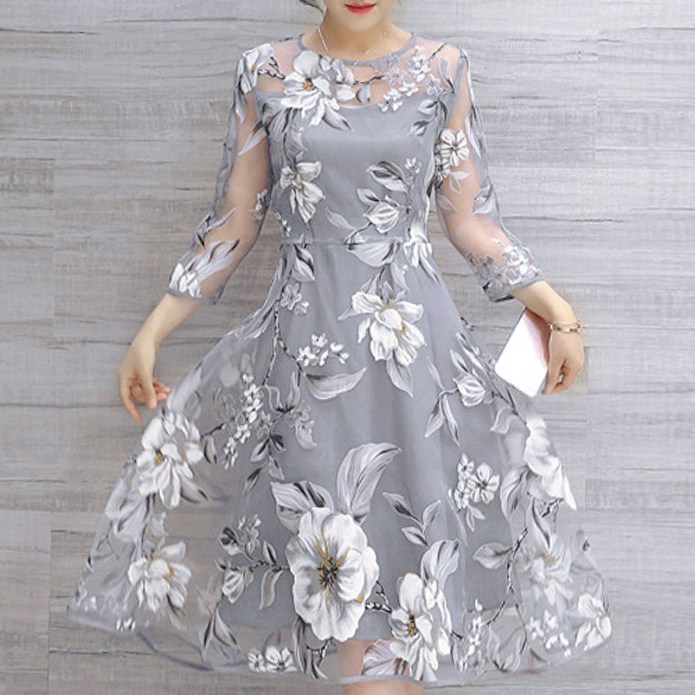 Women's Autumn Dresses Organza Floral Print Wedding Party Ball Prom Gown women Dress Princess Elegant Party Dress #L45