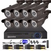 Eyedea 8 CH HDMI VGA Remote Access Motion Detect DVR 1080P 2 0MP Bullet Outdoor Night