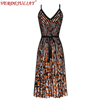 Sexy Dresses Sleeveless Summer 2019 High Street Flowers Print Spaghetti Strap V Neck Belt Fashion Knee Length Knitting Dress