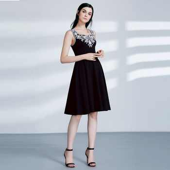 Ever Pretty AS04056 Cut-out Elegant Black Coctial Dresses A Line Scoop Neckline Sleeveless Embroidery Short Evening Dress