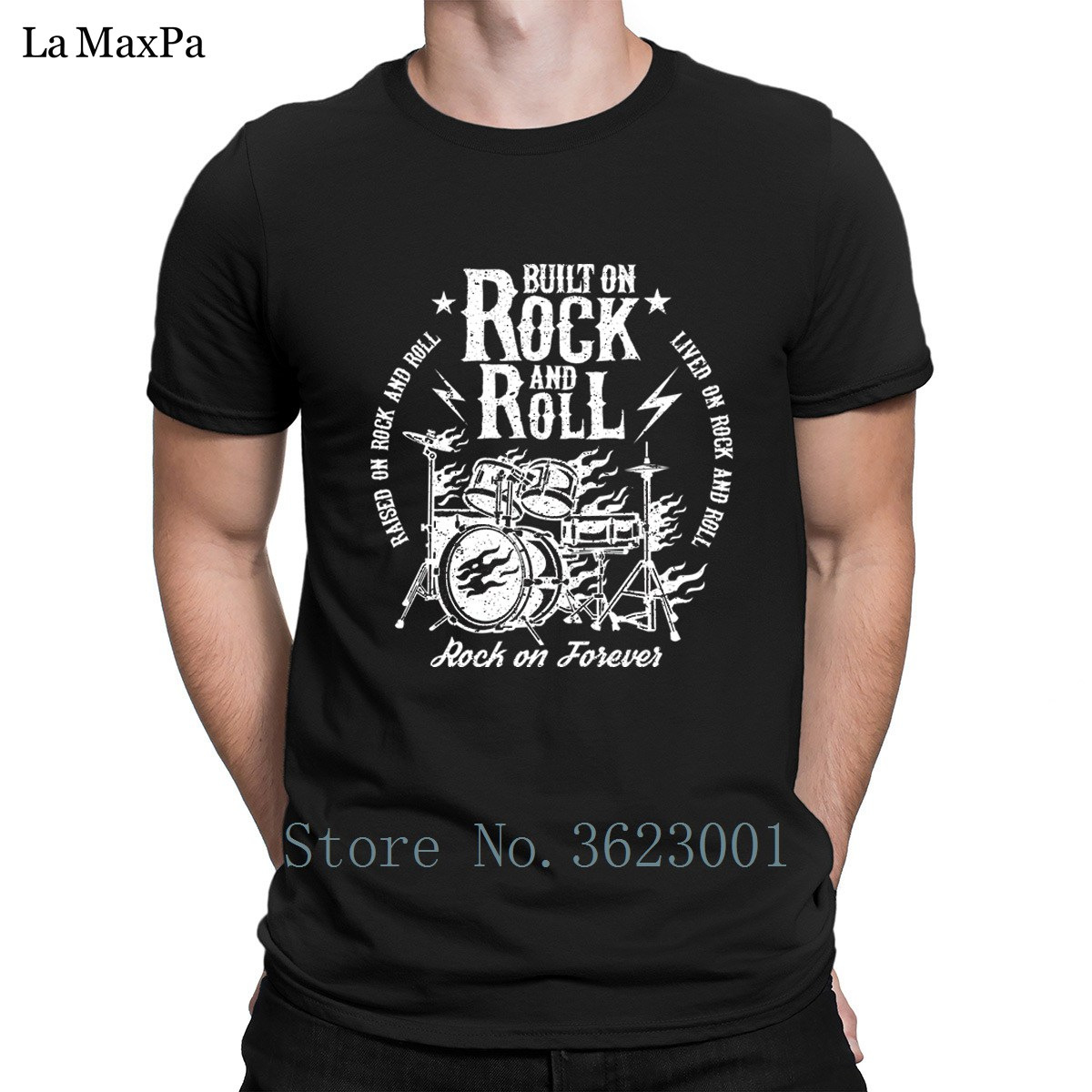 Creative Awesome Men Tee Shirt Built On Rock And Roll Tshirt For Men Streetwear T Shirt Mens Unique T-Shirt Round Neck Cute