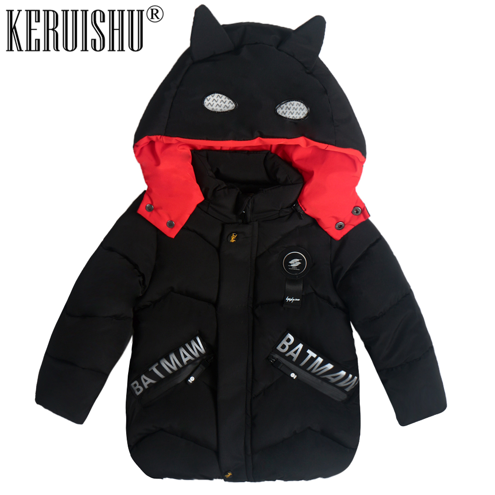 KeRuiShu Fashion baby Boy Jacket&Outwear Warm hooded Winter Boy Coat Children Winter Clothing kids Children Cute Batman Boy Coat 84665 leather jackets children spring baby boy jacket faux leather boy outerwear casual kids coat fashion boy coat fashion