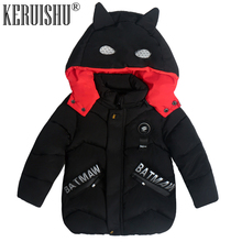 KeRuiShu Fashion baby Boy Jacket&Outwear Warm hooded Winter Boy Coat Children Winter Clothing kids Children Cute Batman Boy Coat недорого
