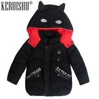 KeRuiShu Fashion baby Boy Jacket&Outwear Warm hooded Winter Boy Coat Children Winter Clothing kids Children Cute Batman Boy Coat