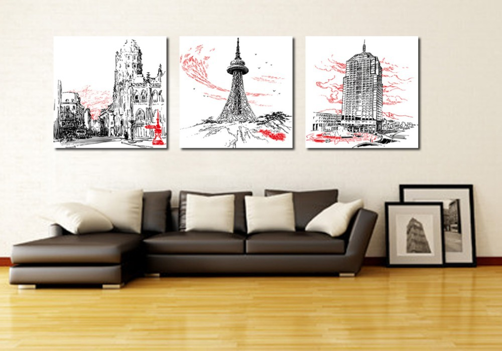 3 piece canvas art Home decoration wall art Abstract canvas painting Modern art wall Office wall painting Paris-in Painting u0026 Calligraphy from Home u0026 Garden ... & 3 piece canvas art Home decoration wall art Abstract canvas painting ...