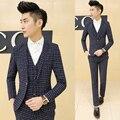 O envio gratuito de moda Coreano dos homens ternos tamanho grande xadrez 3-piece set noiva do casamento do terno terno masculino moda masculina traje homme