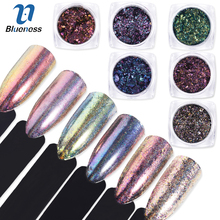 Blueness 1Box UV Gel Polish Manfish Pearl Rainbow Mirror Powder Light Therapy Nails Art Glitter Sequins Decorations Dust Pigment