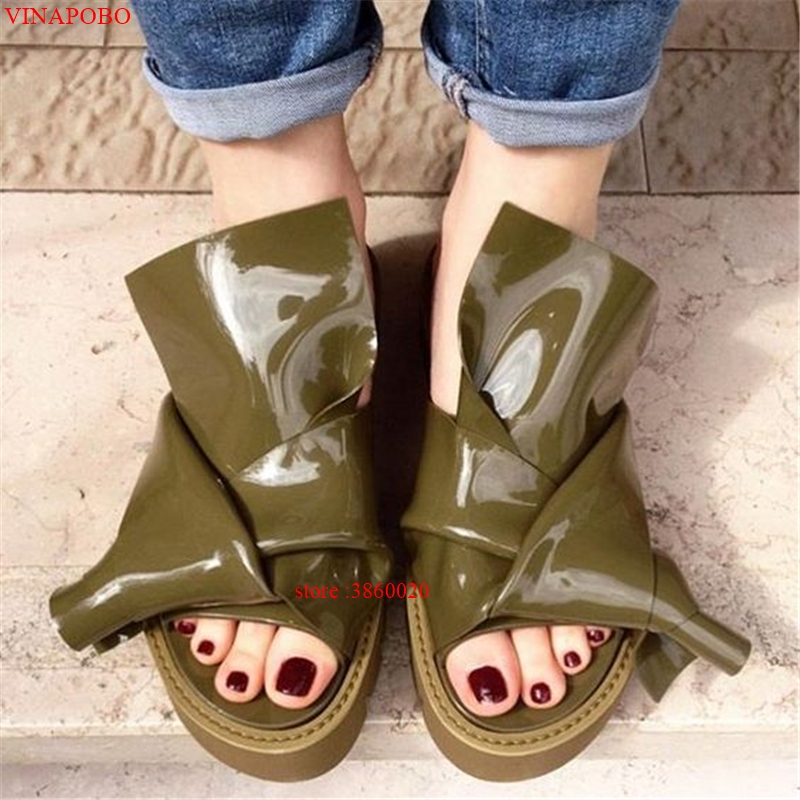 Platform Sandals Chunky Heel Slippers Women Flats Thick Heel Slides Patent Leather Candy Color Flip Flops Designer Summer Shoes in Slippers from Shoes
