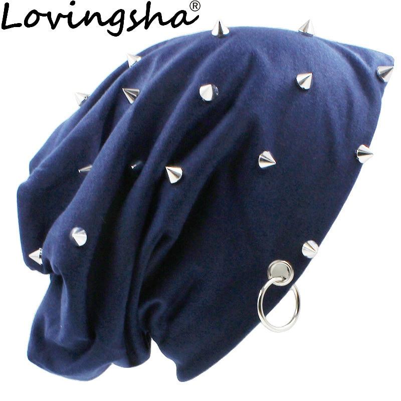 цена на LOVINGSHA Autumn Hats For Women Fashion Hip-hop Winter Girl Skullies Rivets Hoop Design Ladies thin Beanies Men Hat Unisex HT071