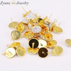 Image 4 - 20 pares ZYZ299 3823 pendientes de forma redonda de 14mm tachuelas, accesorios de pendientes de diamantes de imitación pavimentados, para hacer hallazgos de joyería