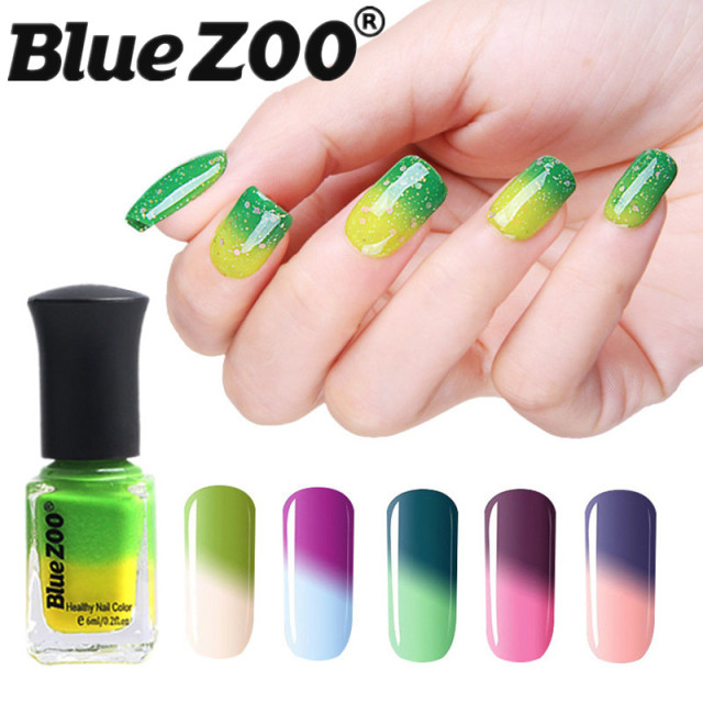 Bluezoo 6ml Women Gel Nail Polish Temperature Change Color Water Art L Off Liquid Uv