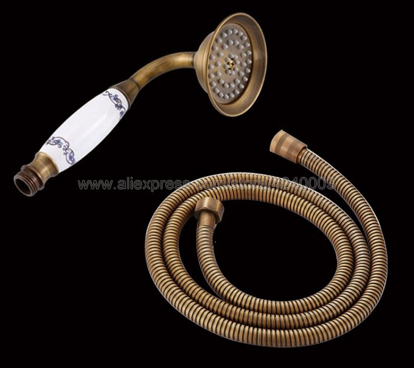 Antique Brass Telephone Style Bathroom Shower Head Water Saving Hand Held Shower Head Spray &1.5m Hose Kxz037