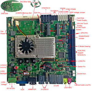 Image 2 - original factory Fanless with 6*COM & 6*USB Mini ITX industrial Motherboard support intel core i3 i5 i7 CPU embedded motherboard