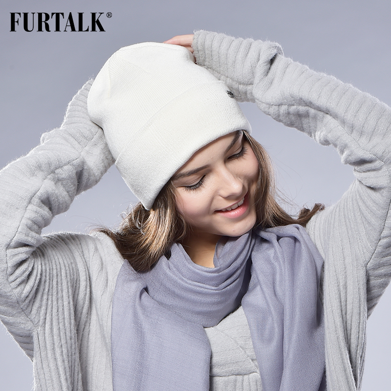 FURTALK Winter Hats For Women Men Knitted Beanie Cap For Girls Wool Female Skullies