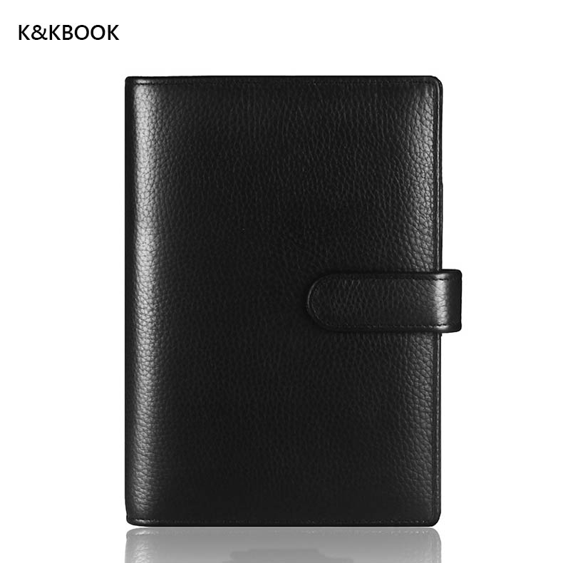 K&KBOOK 100% Genuine Leather Notebook Spiral Vintage Diary Book Travel Journal Gift for Men Women Loose Leaf Notepad with buckle a5 a6 vintage loose leaf refillable wool felt spiral weekly planner notebook filofax memo travel journal diary notepad