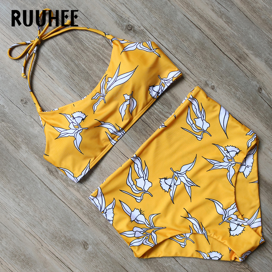 RUUHEE Bikini Swimwear Women Swimsuit 2017 High Waist Bathing Suit Brand Beachwear Push Up Maillot De