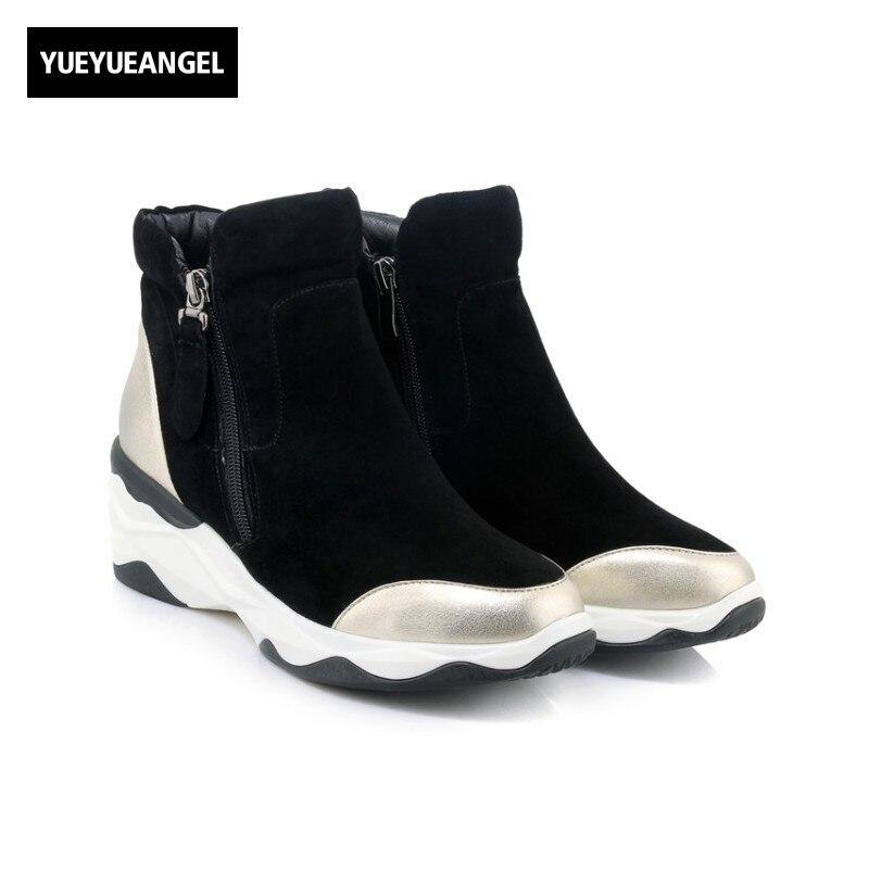 Здесь продается  Womens Winter Casual Shoes Thicken Platform Creeper Zip Genuine Leather Top Brand Ankle Boots Sheepskin Suede Sapato Feminino  Обувь