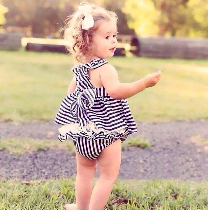 0-24 M Newborn Baby Dziewczyny Odzież Dla Niemowląt Dzieci Letnie Sukienki W Paski Top + Figi 2 sztuk Outfit Malucha dzieci Odzież Ustaw 4