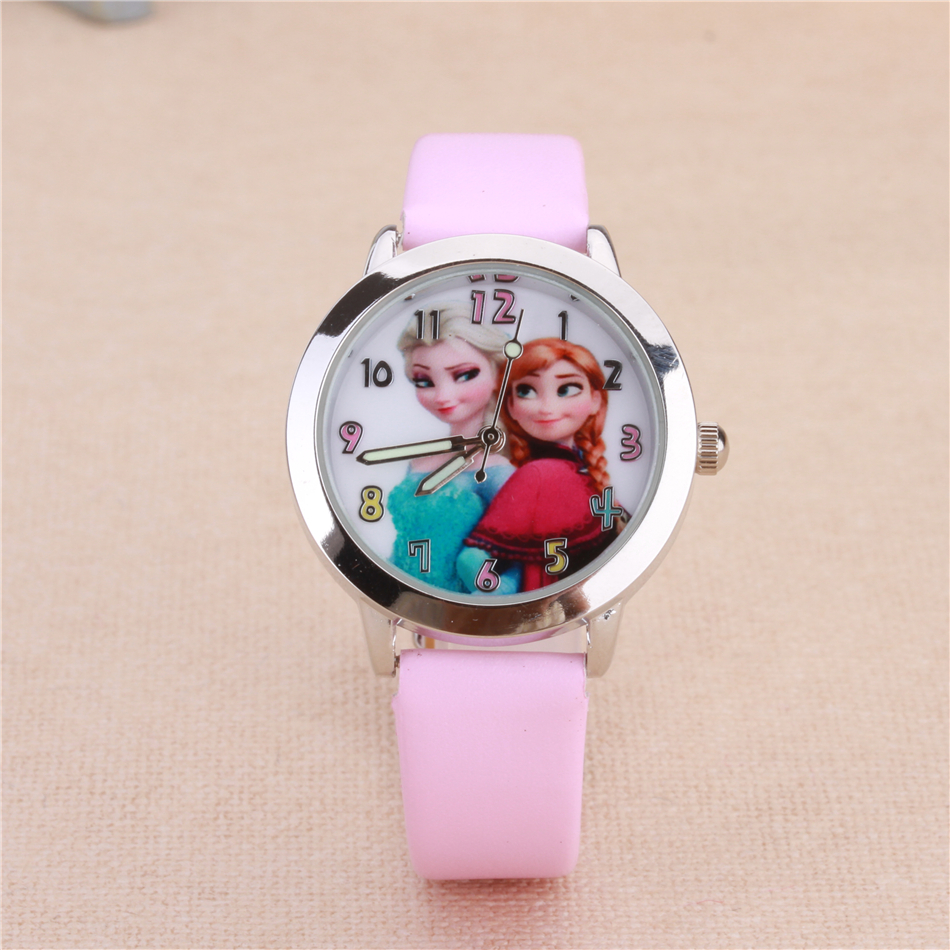 Cartoon Watches Lovely Kids Girls Boys Children Students Quartz Wrist Watch ELSA and ANNA Princess Style Clock Horloge Reloj gift watch for girls lovely clay bear childlike wrist watch imported japan quartz children real leather cartoon relojes nw7052