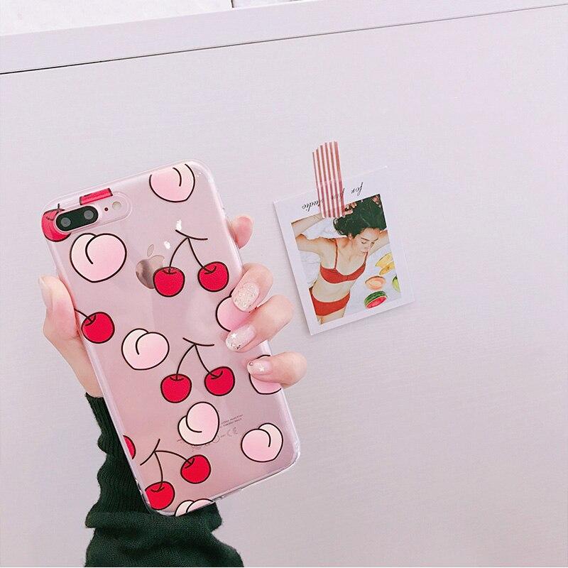 Galleria fotografica Fruit Cherry TPU phone Cases For iphone 7 7Plus 8 8plus for iphone 6 6s 6plus 6splus Clear TPU phone back cover