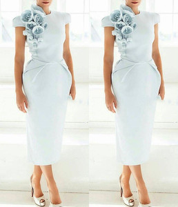 Image 3 - New Arrival Cap Sleeves Tea Length Light Blue Women Dress with Flowers Short Sleeves Formal evening dress 2020 Prom party dress