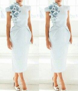 Image 3 - Vestido de noche Formal para mujer, gorro nuevo, mangas cortas, azul claro, mangas cortas, 2020 Vestido de fiesta de graduación