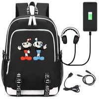 Anime Cuphead Mugman USB Backpack School Bookbag Kids Teens Laptop Travel Shoulder Bag Cartoon Game Bags