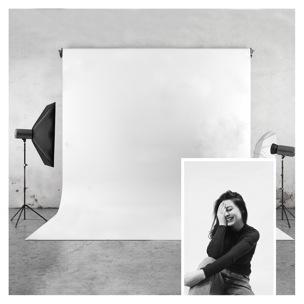 Pure White Photo Background HUAYI Vinyl&Polyester Photography Backdrop for Photo Studio Pictures Or Private Ins Photos mid century wooden desk