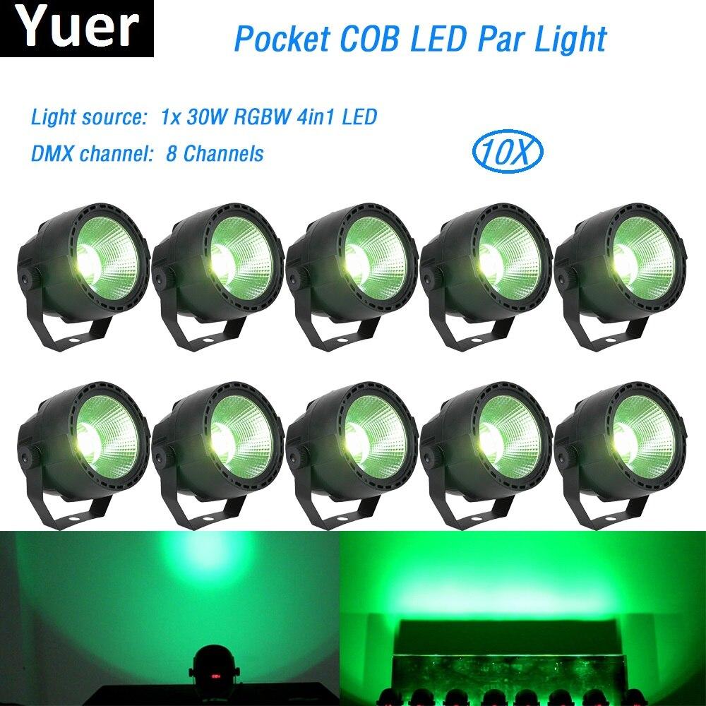 10 pcs/lot 30 w RGBW 4in1 LED COB LED PAR Théâtre Spotlight Poche COB Par 8 canaux DMX512 LED Stade éclairage Projecteur led par