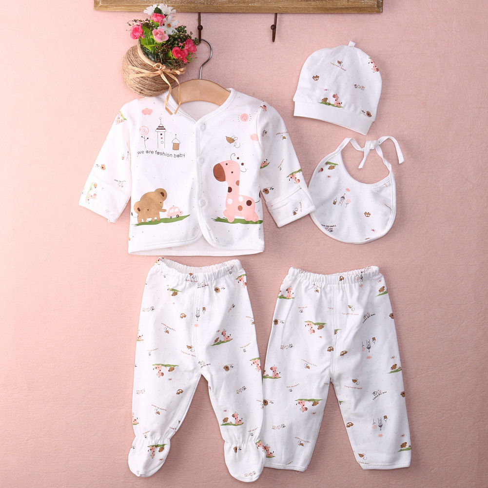 De La Mode 5Pcs Cartoon Animal Newborn Baby outfit Set Girls Boys Clothes Cotton Bodysuit Baby Clothes Set 0-3M