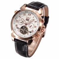 JARAGAR Fashion Casual Tourbillon Wrap Heren Horloges Datum Dag Automatische Horloge Rose Gold Case Kalender Mannelijke Klok Mechanische Horloge