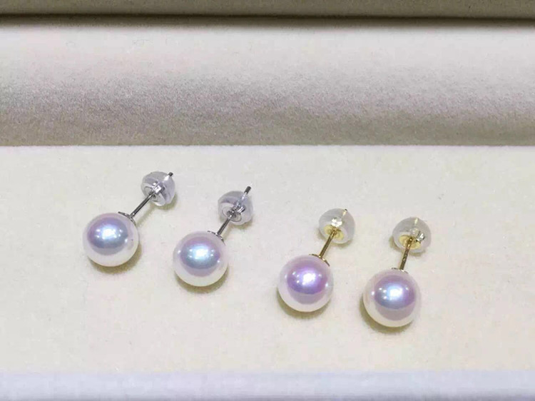 Women Gift word 925 Sterling silver real Genuine Mikimoto quality natural AKOYA, Japan Sea pearl stud earrings are very strong,