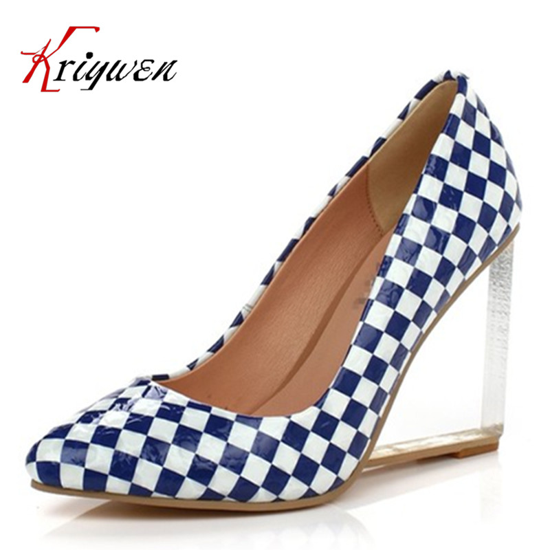Brand Shoes 2016 spring summer genuine leather High Heels Women Pumps wedges Pointed Toe Five colors Wedding Shoes size 33-42 plus size 34 49 new spring summer women wedges shoes pointed toe work shoes women pumps high heels ladies casual dress pumps