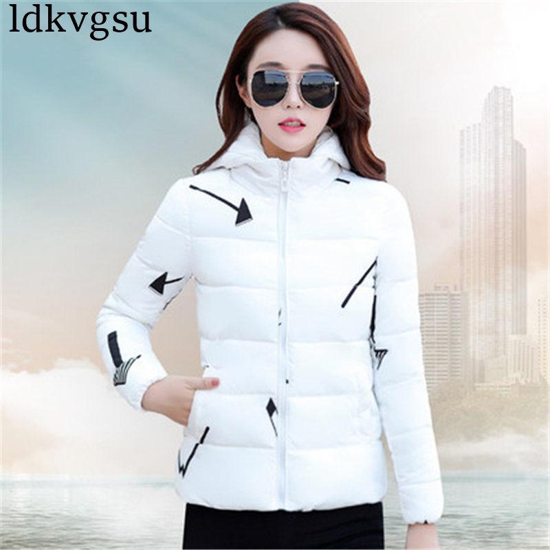2019 Cotton Padded Women's Short Winter Jacket 2019 Autumn Long Sleeve Zipper Up   Parkas   Coat For Ladies Plus Size Clothes A1447