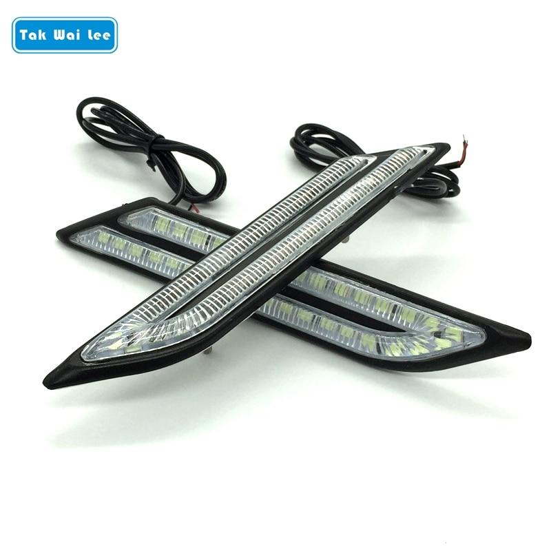 Tak Wai Lee 2X LED DRL Daytime Running Light Car Brake Steering Light Source Car Styling Waterproof White Crystal Blue Day Light