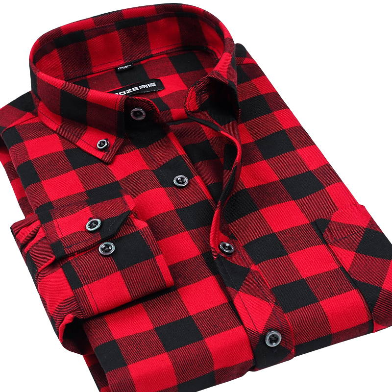 1a5d17a104 Fall Winter 2017 New Mens Casual Plaid Shirts Long Sleeve Slim Fit ...