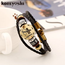 12 Zodiac bracelet Men 2016 vintage bronze Handmade Braid multilayer Genuine Leather Women Wrap Charm Bracelets
