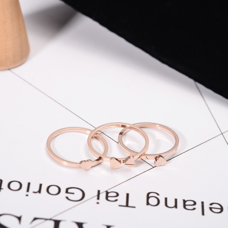 YUN RUO Classic Designer Rose Gold Color 3 Round Clover Rings Set for Woman Gift Wedding Jewelry 316L Stainless Steel Never Fade