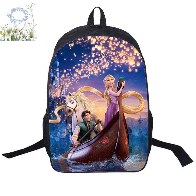16inch Tangled Backpack Mochila Double Zipper Rapunzel Backpack Girls Schoolbag Mochila Escolar Free Shipping A134