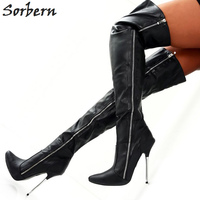 Sorbern Over The Knee Boots For Womens Pointy Shoes Women Boots Size 10 Pu Custom Colors Big Size Long Boots New 2018 Fashion