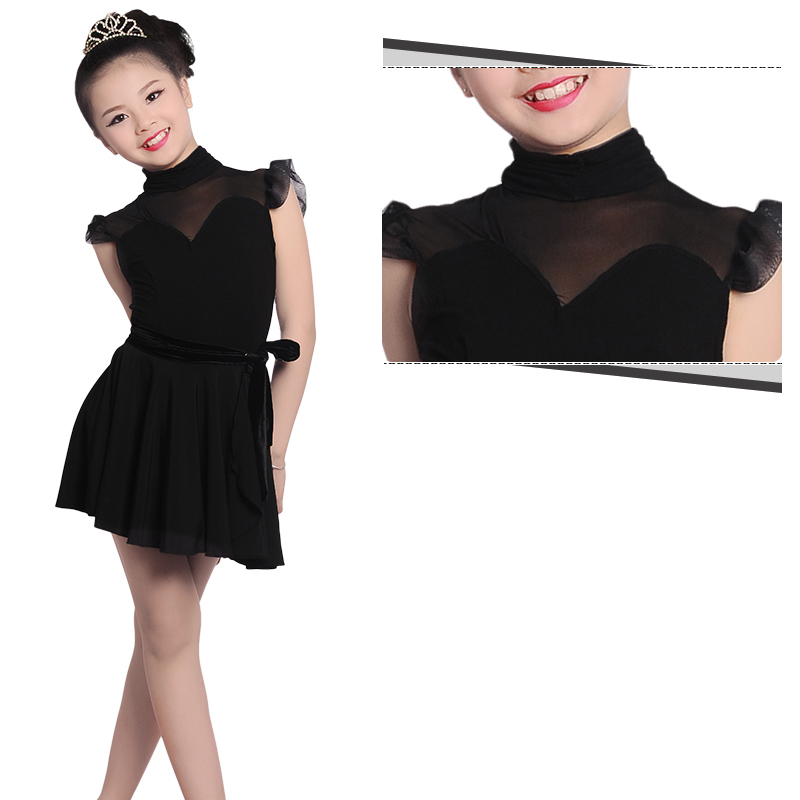 2017 Girls Two-Piece High Neck Leotard Elegant Black Lace Skirt Child Kid Performance Competition Latin Dance Dress