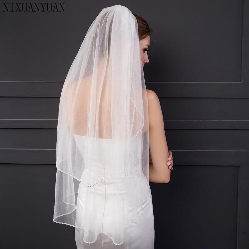2020 New 2 Layer Bridal Veils With Comb Velos De Novia Birdcage White Ivory Tulle Beaded Edge Pearl Short Wedding Veil