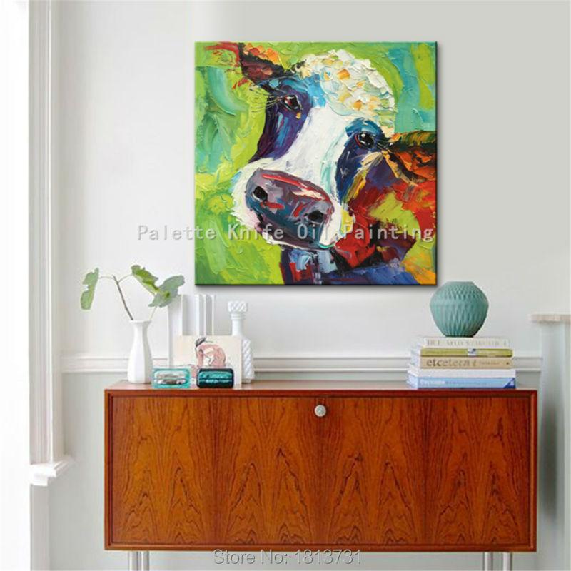 Lgemlde Auf Leinwand Wandbilder Gemlde Fr Wohnzimmer Wandkunst Pop Art Kuh Moderne Abstrakte Handgemalte 12