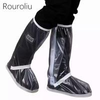 Rouroliu Women Autumn Winter Transparent Protector Rain Shoes Covers Unisex Reusable PVC Waterproof Overshoes Woman RB214